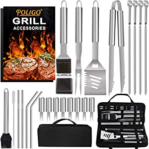POLIGO 26PCS Barbecue Grill Utensils Kit Stainless Steel BBQ Grill Tools Set - Premium Grill Accessories in Storage Bag for Camping - Ideal Grilling Set Gifts for Christmas Birthday Presents Dad Men