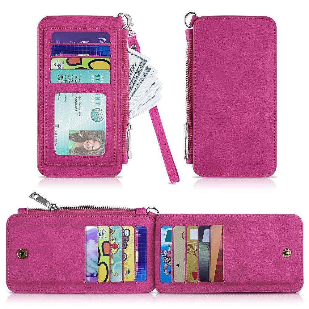 Leather Card Wallet,Slim RFID Blocking Credit Card Case Wallet Sleeve for Women