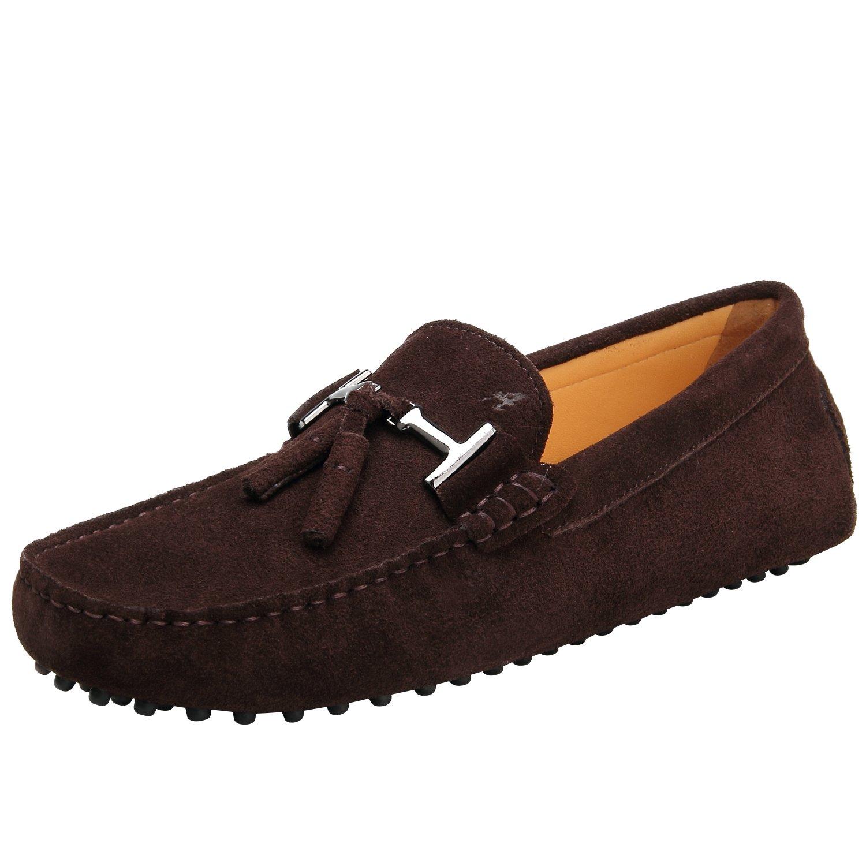 Shenduo Hombre Zapatos Casuales - Mocasines de Piel con borlas Cómodos para Hombre D7157 40 EU|Marrón