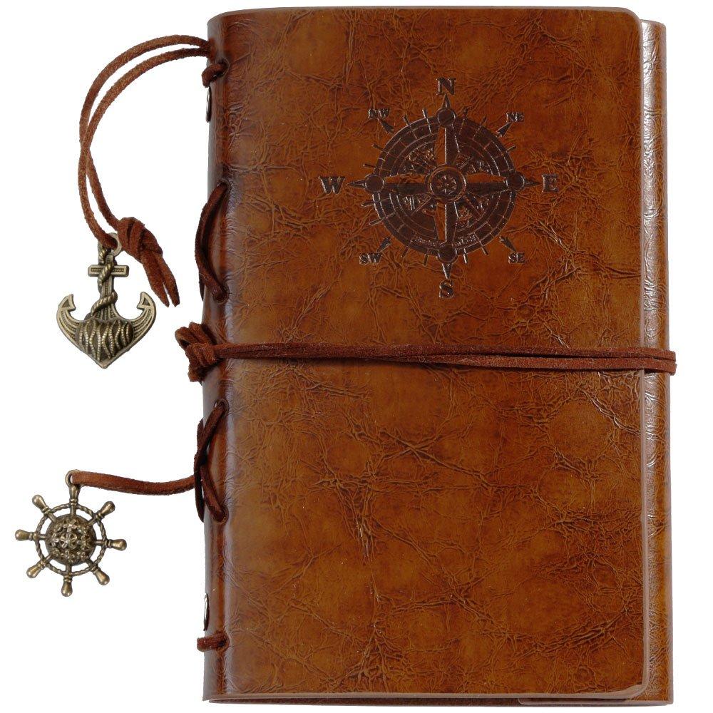 lictin Leder Tagebuch Notebook Aufgaben handgefertigt Traveller 's Notizblock Tagebuch Mini Braun handgefertigt Wickelarmband Leder Tagebuch gut Geschenk für Herren Damen Studenten (braun) LLN136862UK1