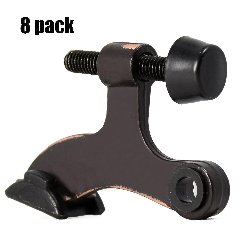 """HOMOTEK 8 Pack Hinge Pin Oil Rubbed Bronze Door Stopper,Adjustable Deluxe Heavy Duty Door Stopper 2-1/2""""x1-3/4"""",with Black Rubber Bumper Tips"""