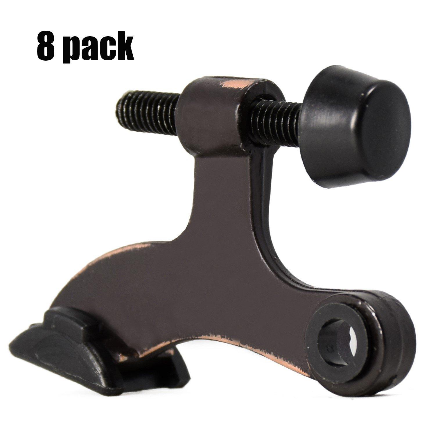 """HOMOTEK 8 Pack Hinge Pin Oil Rubbed Bronze Door Stopper,Adjustable Deluxe Heavy Duty Door Stopper 2-1/2''x1-3/4"""",with Black Rubber Bumper Tips"""