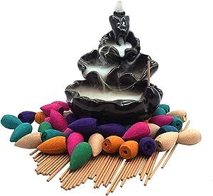 Moylor Ceramic WaterfallIncense Burner Set with 40 pcs Cones and 50pcs Sticks Incense Handcraft Lotus Pond Censer for Home Aromatherapy