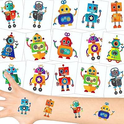 German-Trendseller ® 12 x tatouages temporaires de robot┃tatouages ephémères┃l'anniversaire d'enfant┃petit cadeau┃ motifs différentes