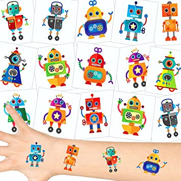 German Trendseller® 12 x tatuajes temporales robots┃ fiestas infantiles┃ idea de regalo┃piñata┃cumpleaños de niños┃ 12 unidades…