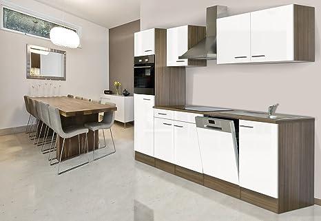 respekta CERAN Cocina – Bloque de Cocina (280 cm, vitrocerámica York de Roble Blanco
