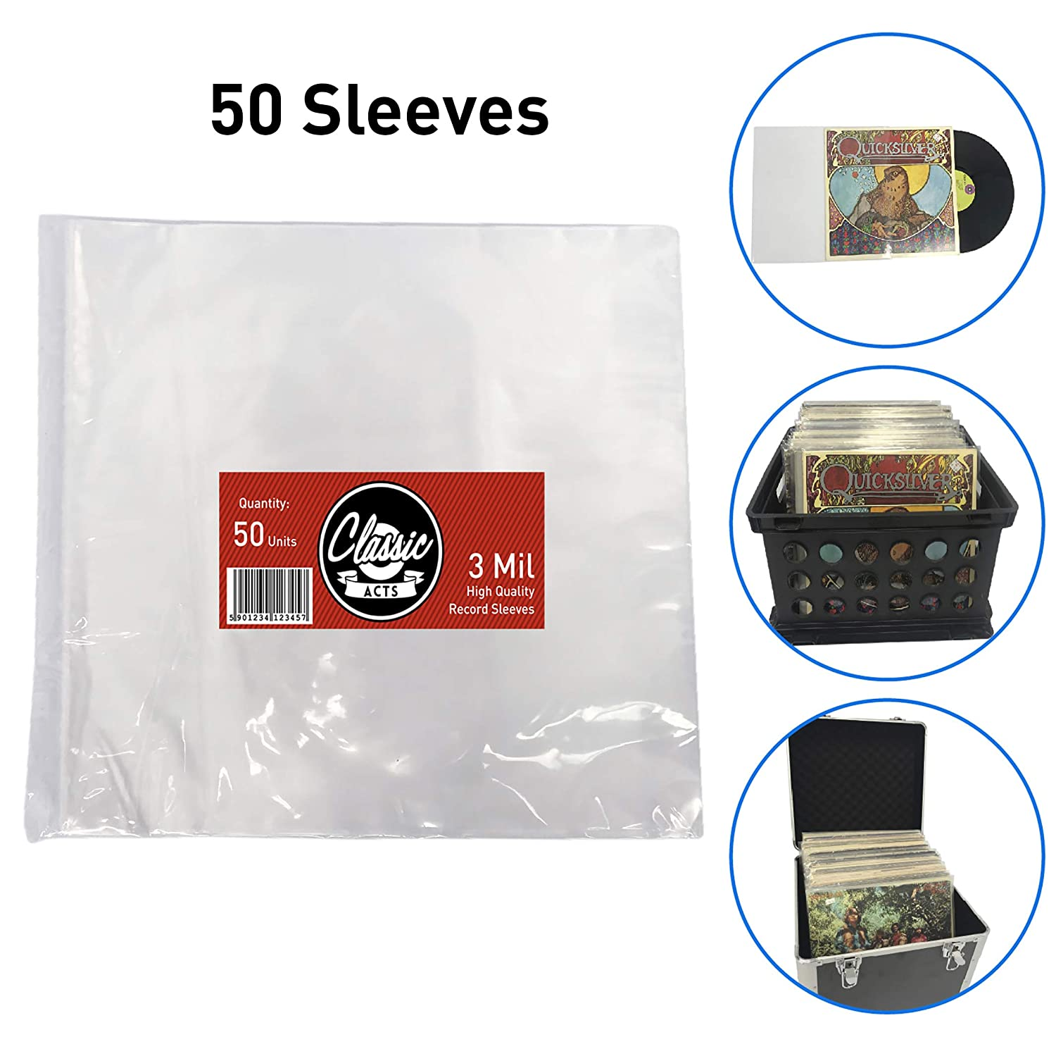 "Classic Acts Vinyl Record Sleeves Protect Your Album Covers - LP Sleeves Fit Single and Double Albums – Size: 12.5"" X 12.75"" - 3 Mil Thick (25 Pack) EasyGo Products EGP-SLV-001"