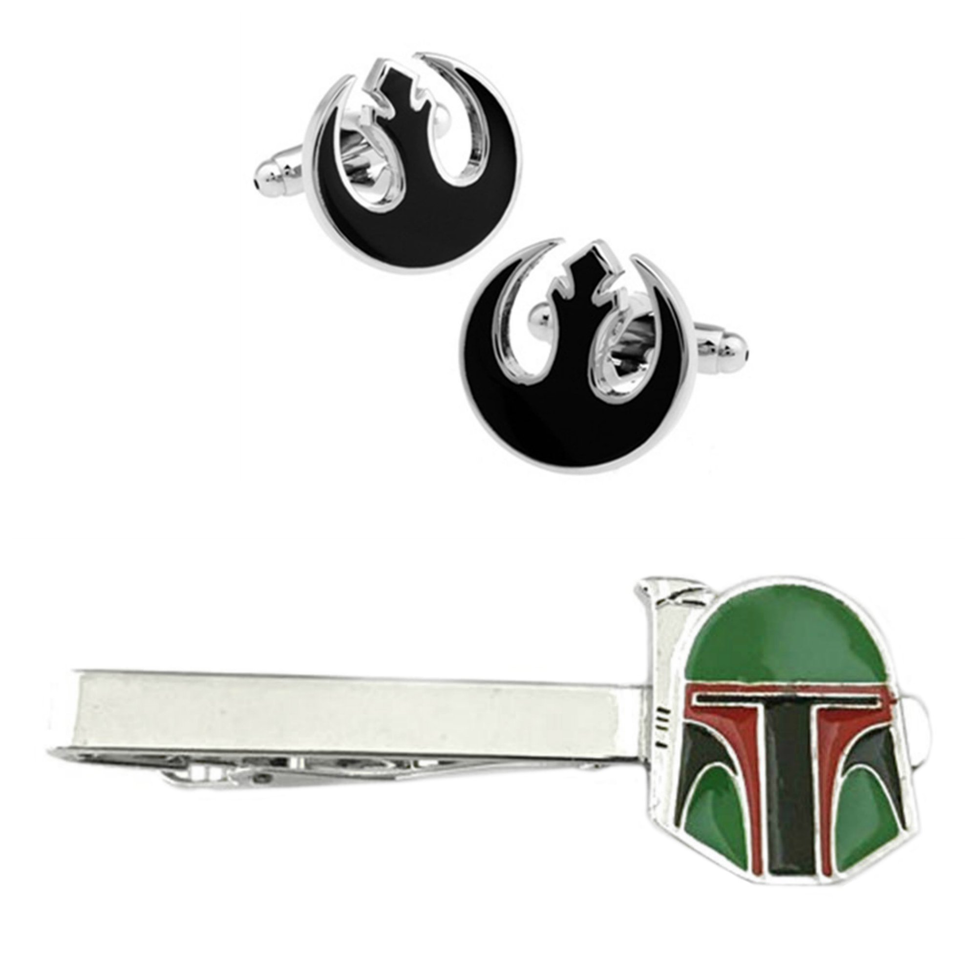 Outlander Rebel Black Cufflink & Boba Fett Tiebar - New 2018 Star Wars Movies - Set of 2 Wedding Logo w/Gift Box