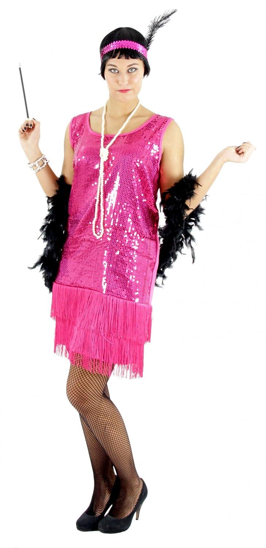Foxxeo Vestido Rosa de los años 20 para señoras Traje Elegante de ...