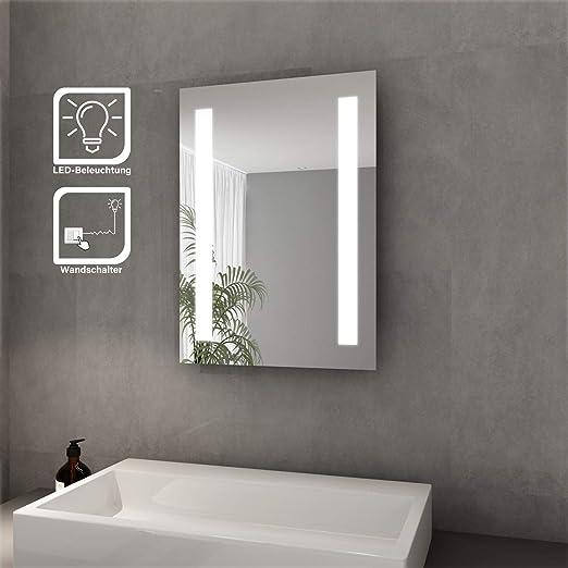 Badezimmerspiegel Led.Elegant Badspiegel Mit Led Beleuchtung 45 X 60 Cm Kaltweiss Ip44 Energiesparend Bad Spiegel Badezimmer Wandspiegel Amazon De Kuche Haushalt