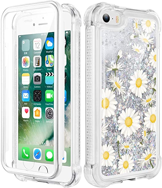 iPhone 5//5S Floral Slip Resistance Silicone Rubber Case Cover iPhone 7 /& 8 Handmade Real Purple Flowers and White Daisies Blossom iPhone 6//6s iPhone SE 7 /& 8 Plus