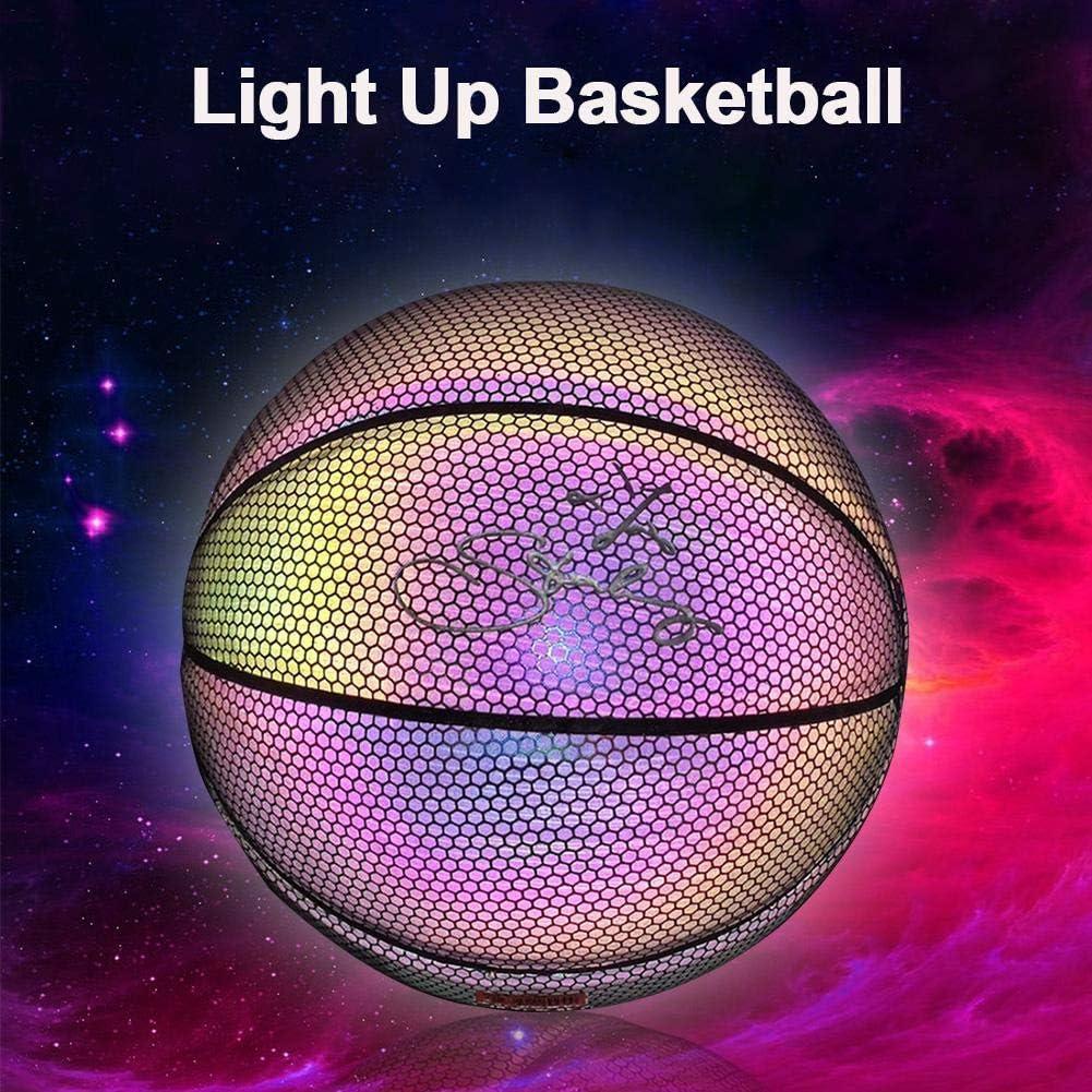 Jouets Cadeaux pour Enfants PU Ballons de Basketball Arc-en-Ciel R/éfl/échissants chlius Basketball Lumineux Fluorescent Brillant Apr/ès L/éclat du Soleil Taille 7 Taille Et Poids Officiels