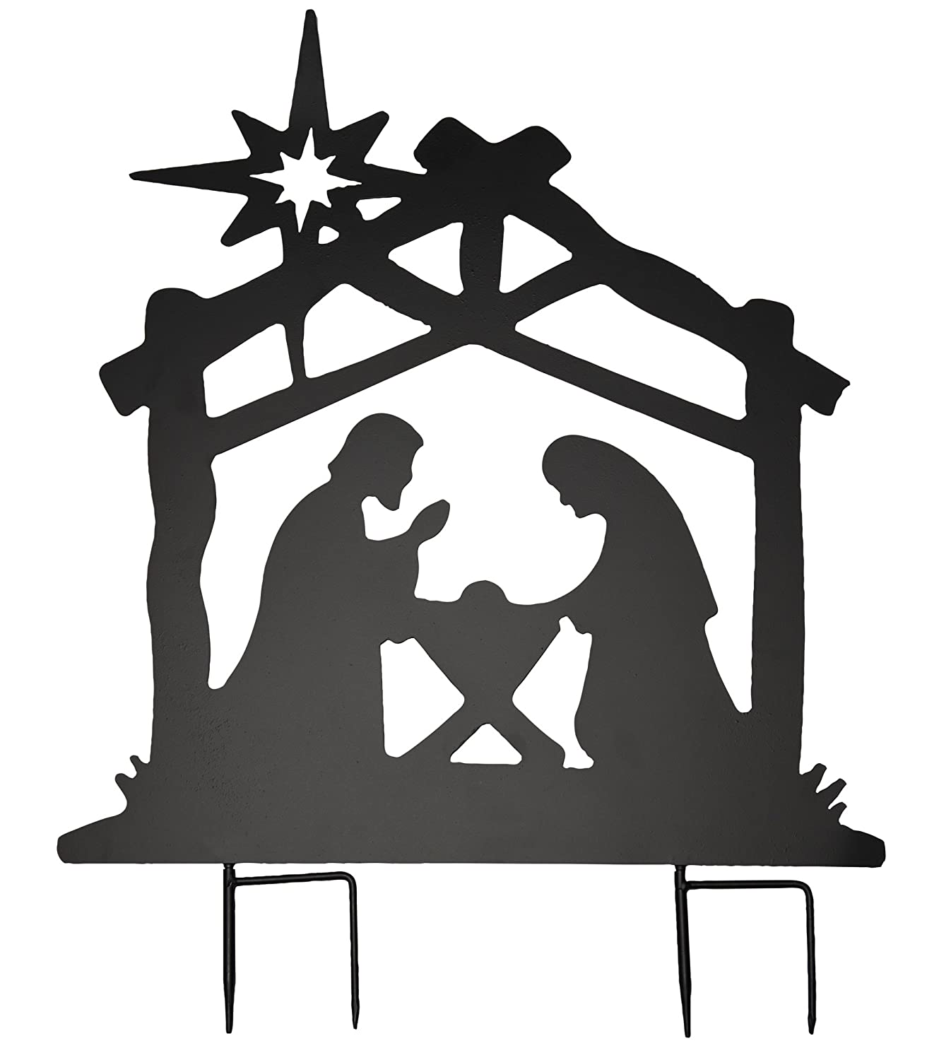 The Paragon Nativity Metal Yard Stake - Instant Holiday Decorating with This Holy Family Silhouette Scene