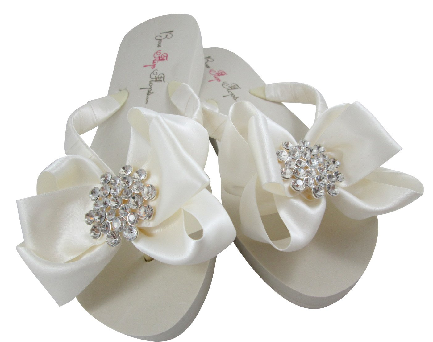 5c102a2c1340a Amazon.com  Heart Bridal Bling Flip Flops in Ivory Hight Wedge ...