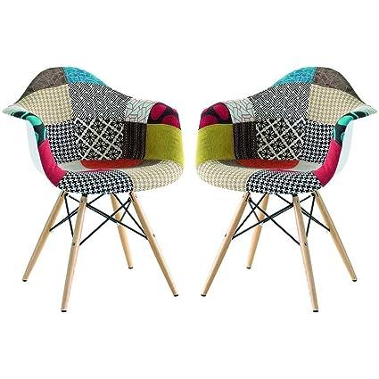 Poltrone Moderne Colorate.Milani Home Set Di 2 Poltrone Patchwork Moderne Di Design
