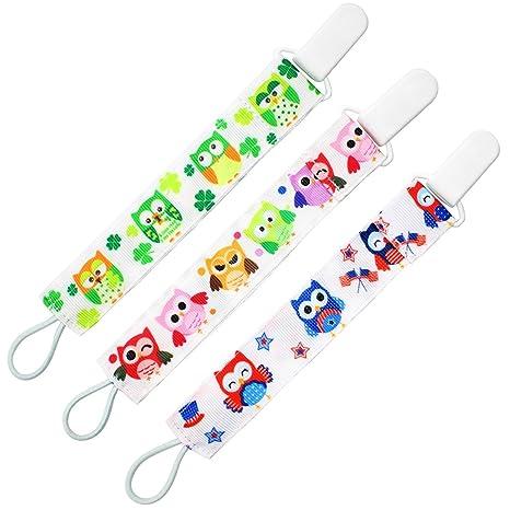 Almondcy Dummy Clip 3 Packs - Diseño Elegante Moderno de 2 Caras - Mejor Soporte de Chupete para Niñas y Niños
