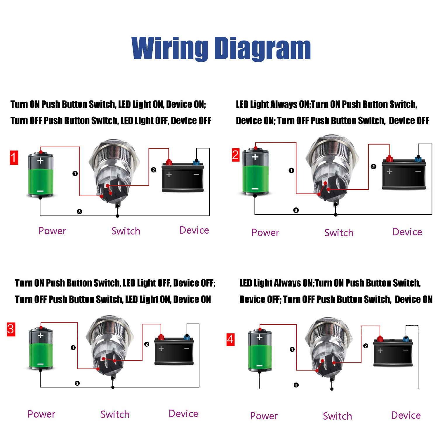 Yakamoz Dc12v 19mm 3 4 Green Ring Led Metal Self Wiring Diagram For Push Button Switch Locking Latching Car Diy Silver With Wired Connector Adapter