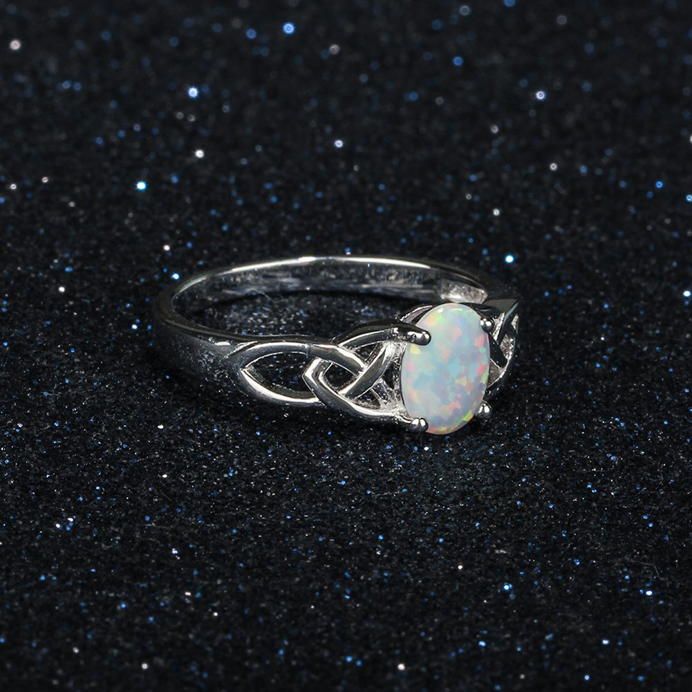 Furious Jewelry 925 Sterling Silver Oval Created Opal Trinity Celtic Knot Band Ring, Size 6 7 8 (7) by Furious Jewelry (Image #6)