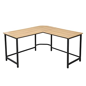 The Tristan Compact L Shaped Office Desk In Natural, Black