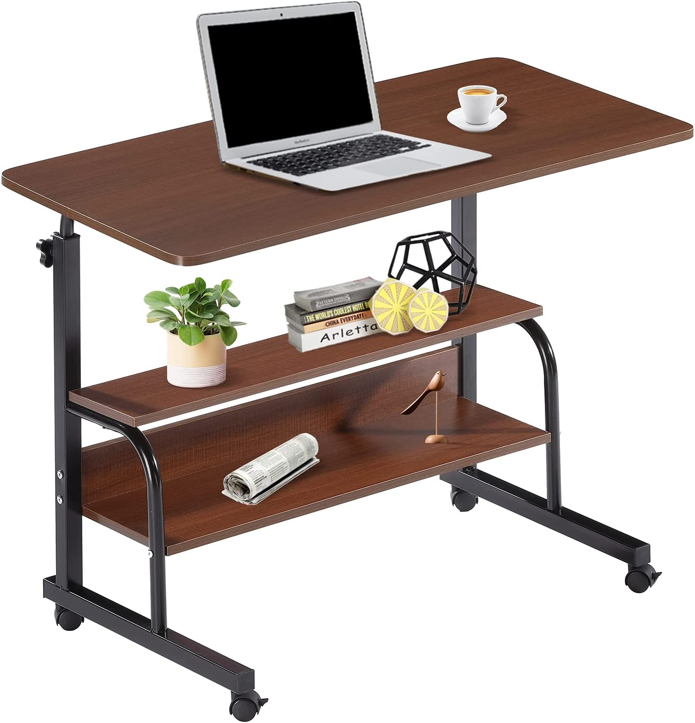 Computer Desk Home Office Student Writing Standing Desk with Storage, Study Desk Laptop Table for Small Space, Small Portable Stand Up Desk for Home Bedroom, Adjustable Rolling Desk 32x16 inch