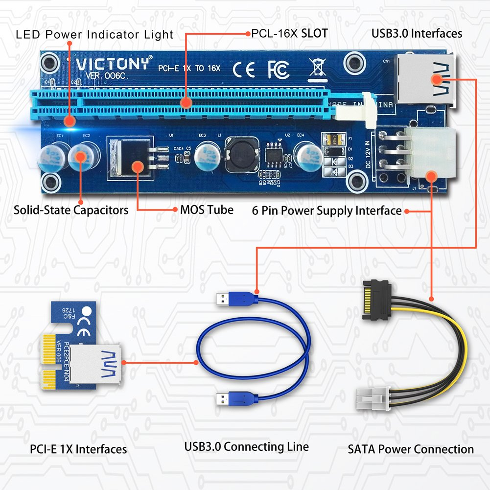 VICTONY 6-Pack 6 Pin PCI-E 1x to 16x Powered Riser Adapter Card w/ 60cm USB 3.0 Extension Cable & 6 Pin PCI-E to SATA Power Cable - GPU Riser Adapter - Ethereum Mining ETH+MintCell 6 Cable Ties(6 Pin) by VICTONY (Image #6)