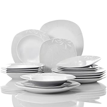 VEWEET  Clover  Service de Table en Porcelaine   Service à dîner DE 18  pièces ebb49bcd3f06