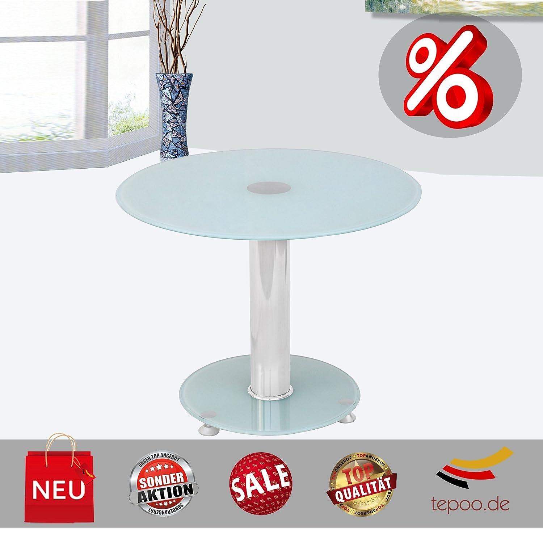 Beistelltisch Tisch Couchtisch Glastisch Glas Milchglas Chrome Rund Amazonde Kche Haushalt