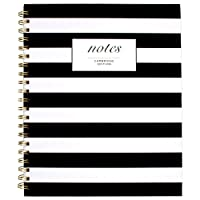 "Cambridge Business Notebook, Hardcover, 80 Sheets, 11 x 8-7/8"", Fashion, Black/White Stripe (59010)"