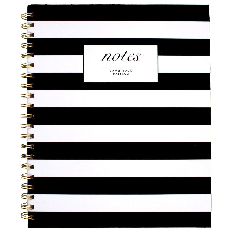Cambridge Business Notebook, Hardcover, 80 Sheets, 11 x 8-7/8'', Fashion, Black/White Stripe (59010)