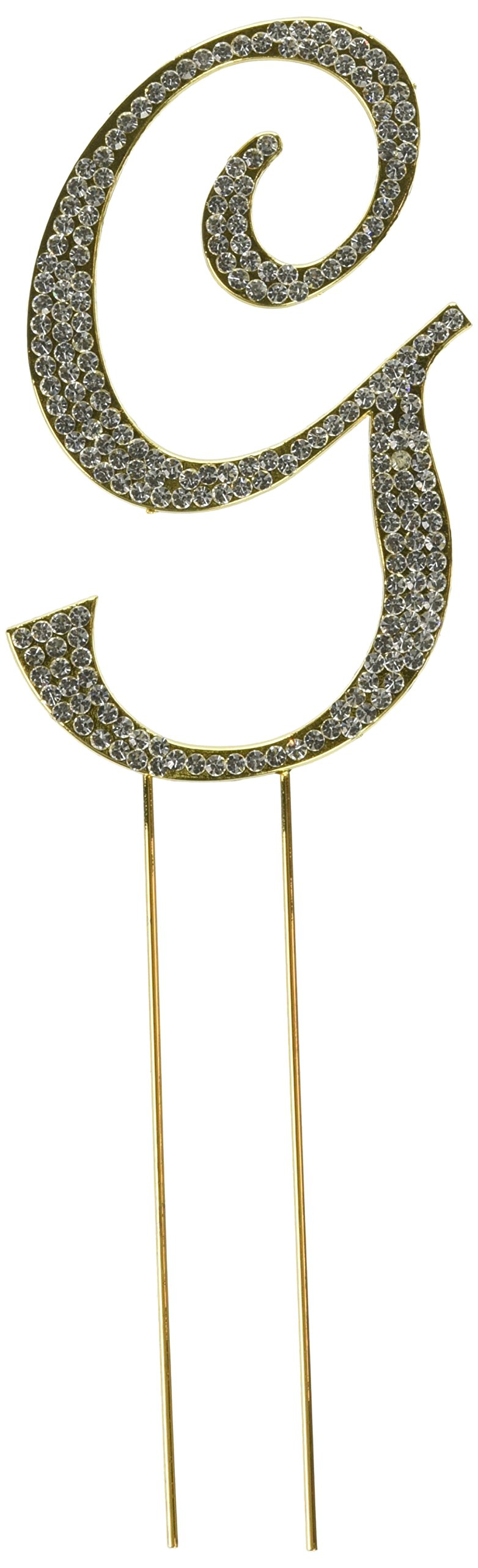 Unik Occasions Sparkling Collection Crystal Rhinestone Monogram Cake Topper - Letter G, Large, Gold