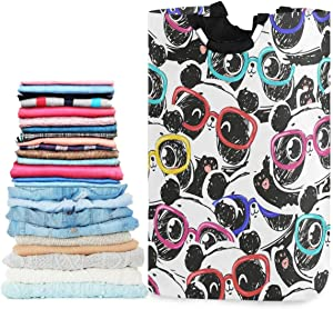 visesunny Funny Panda with Colorful Eyeglasses Animal Large Laundry Hamper with Handle Foldable Laundry Basket Toys and Clothing Organization for Bathroom, Bedroom, Home, Dorm, Travel