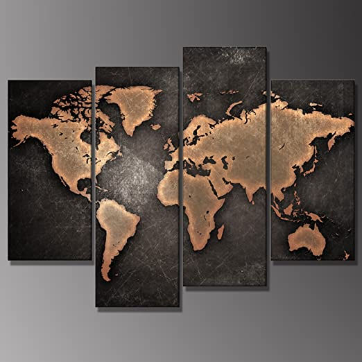 Vintage World Map Grunge Abstract Modern Contemporary Canvas Wall Art More Size