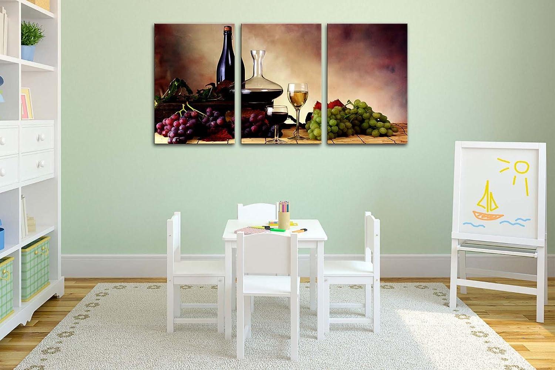 Lienzo Pintura para Decoración del hogar Todavía vida de rojo uvas vino y uvas Verde sobre fondo Vintage 3 piezas Panel giclée de cuadros moderno arte ...
