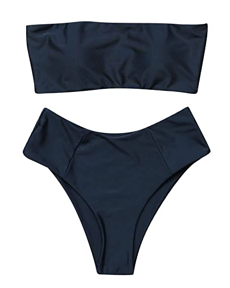74020b5530b0 OMKAGI Women's 2 Pieces Bandeau Bikini Swimsuits Off Shoulder High Waist  Bathing Suit High Cut