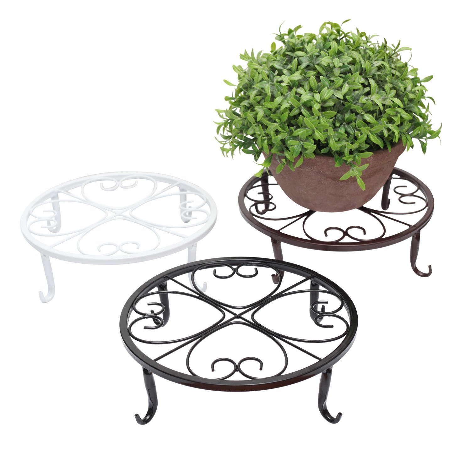 ZUYEE Plants Stand Indoor Outdoor Wrought Iron Planter Trivet Stand Sturdy Flower Pot Supporting Olde Metal / Iron Art , 9.5 Inch, Flowerpot Holder for Garden Studios Pack of 3