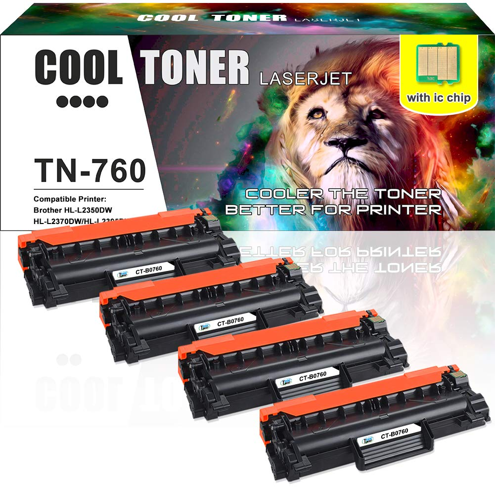 with CHIP] Cool Toner 4PK TN-760 Compatible for Brother ...