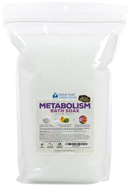 Metabolism Bath Salt 32oz (2-Lbs) Epsom Salt Bath Soak With Grapefruit & Geranium Essential Oil & Vitamin C - Helps Boost Your Metabolism Naturally With No Perfumes & No Dyes Better Bath Better Body