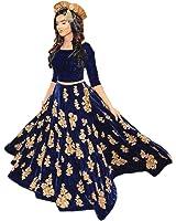 Aryan Fashion Women'S Velvet Anarkali Lehenga Choli (Er,00,-10610_Navy Blue_44)