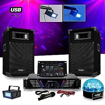 Pack sono DJ completo amplificador + altavoces 500 W + mesa de ...