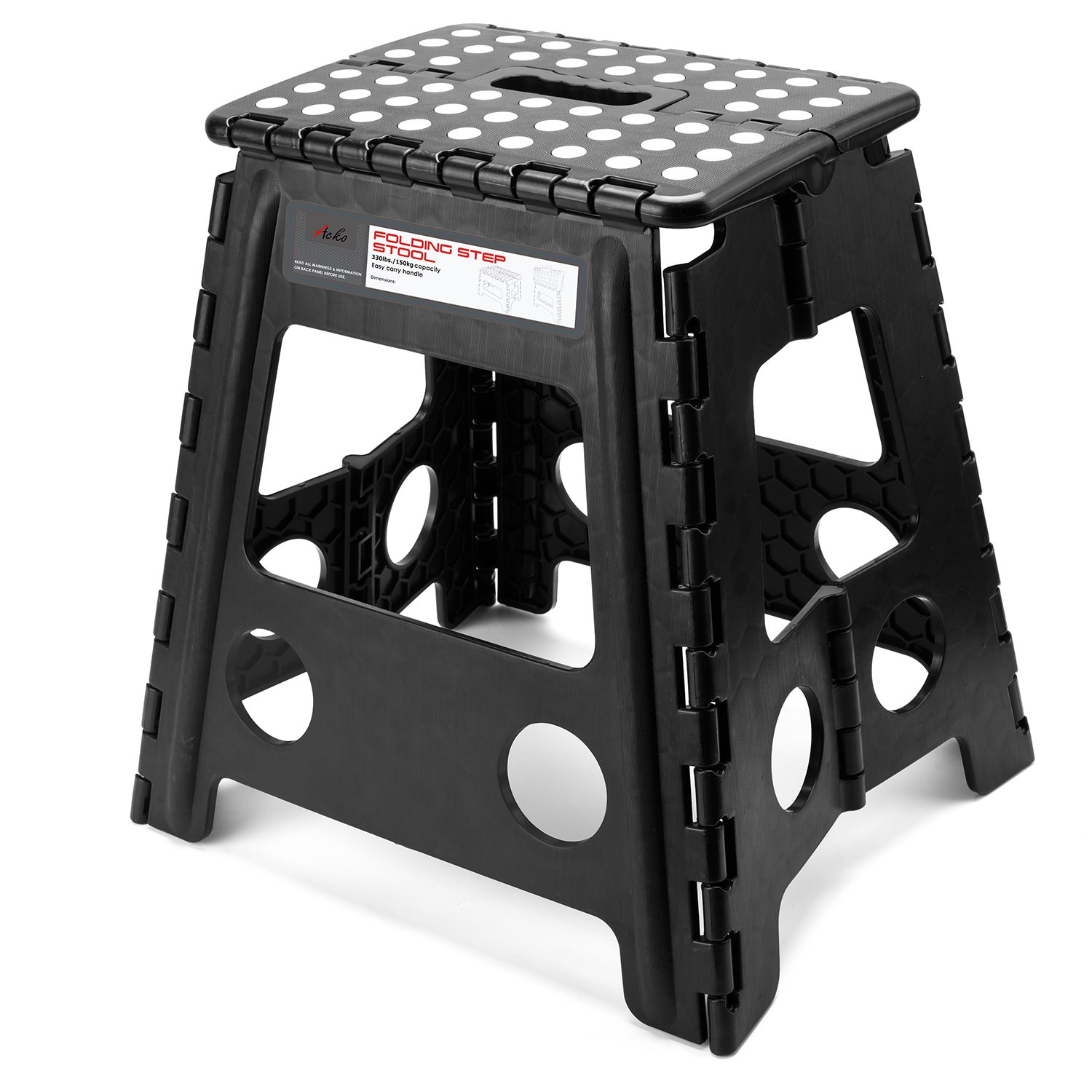 Acko 16 Inches Super Strong Folding Step Stool with handle for Adults and Kids, Kitchen Stepping Stools, Garden Step Stool Black
