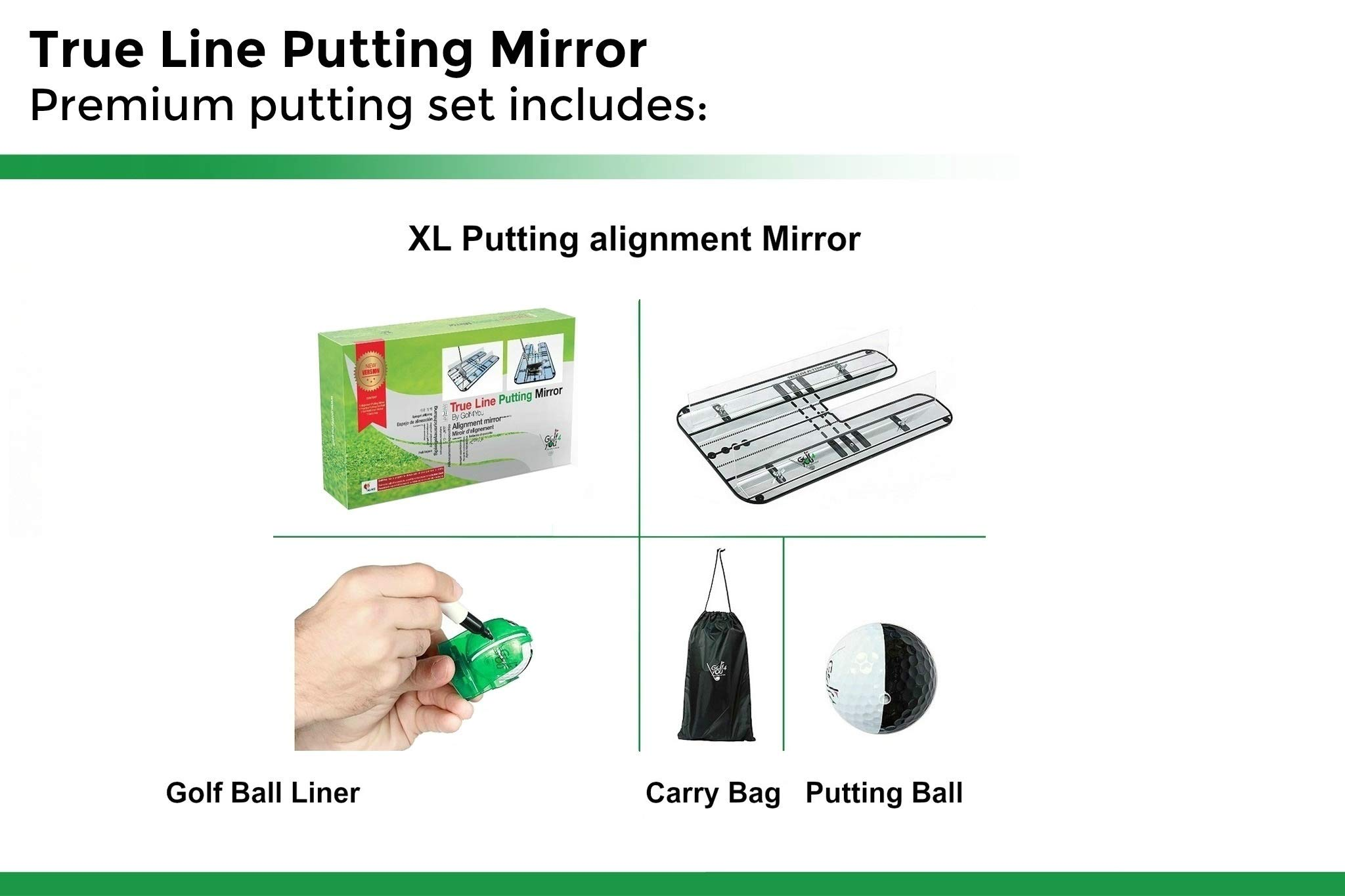 Golf Training Aid, Putting Set - XL Alignment Mirror Design with Our Exclusive Clear Adjustable Guide Rails ''True Line Putting Mirror'' - Leading Practice Aid for On-Line, Consistent Putting Stroke by GOLF4 YOU THE WORLD OF GOLF (Image #9)
