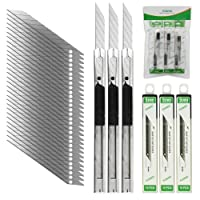 FOSHIO 3pcs Profi Cuttermesser mit 30pcs 9mm Abbrechklingen, Teppichmesser für Folien, Papier, Basteln und Tapete