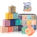 Baby Toy Blocks Soft Stacking Blocks for Babies 6+ Month Baby Building Teething Toys Infant Montessori Toys with Numbers Shap