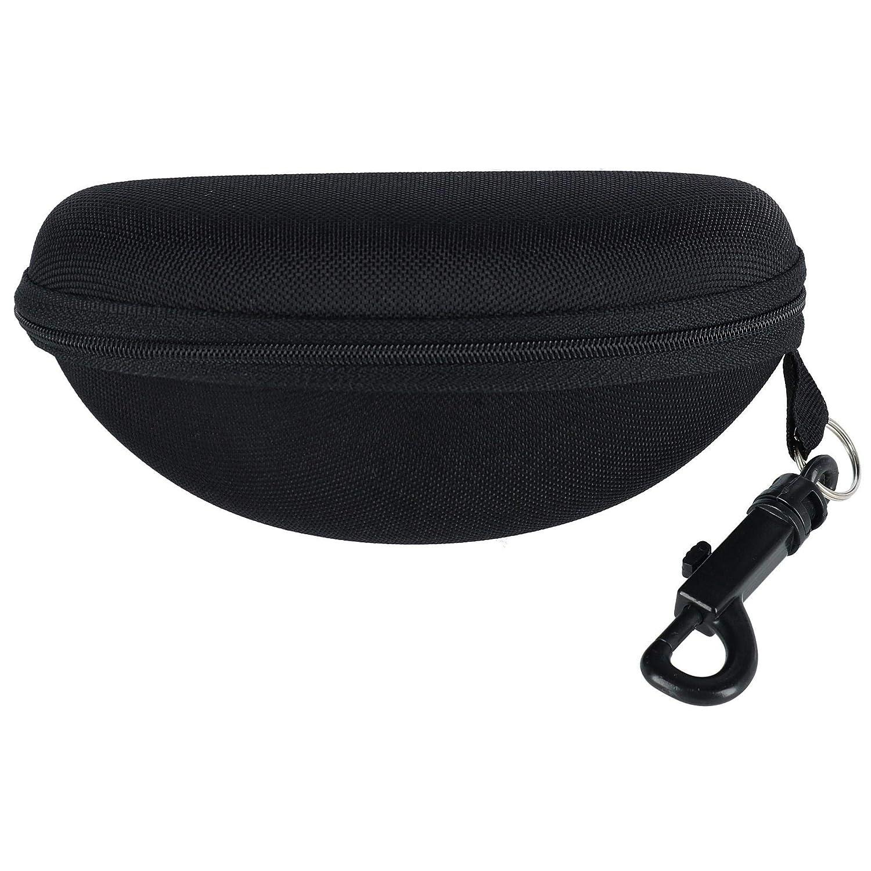 CTM Semi-Hard Zipper Sunglass and Eyeglass Case with Belt Loop, Black SE-GCASE-BLK