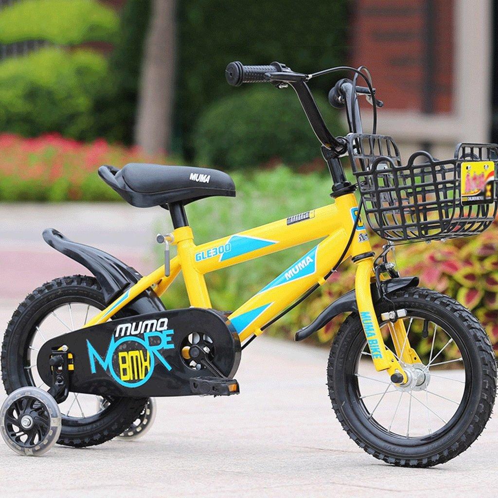 LI HAO SHOP Kinder Fahrrad Kinderwagen Kinder Mountainbike (Flash-Rad-Version) (Farbe   Gelb, Größe   18 in)