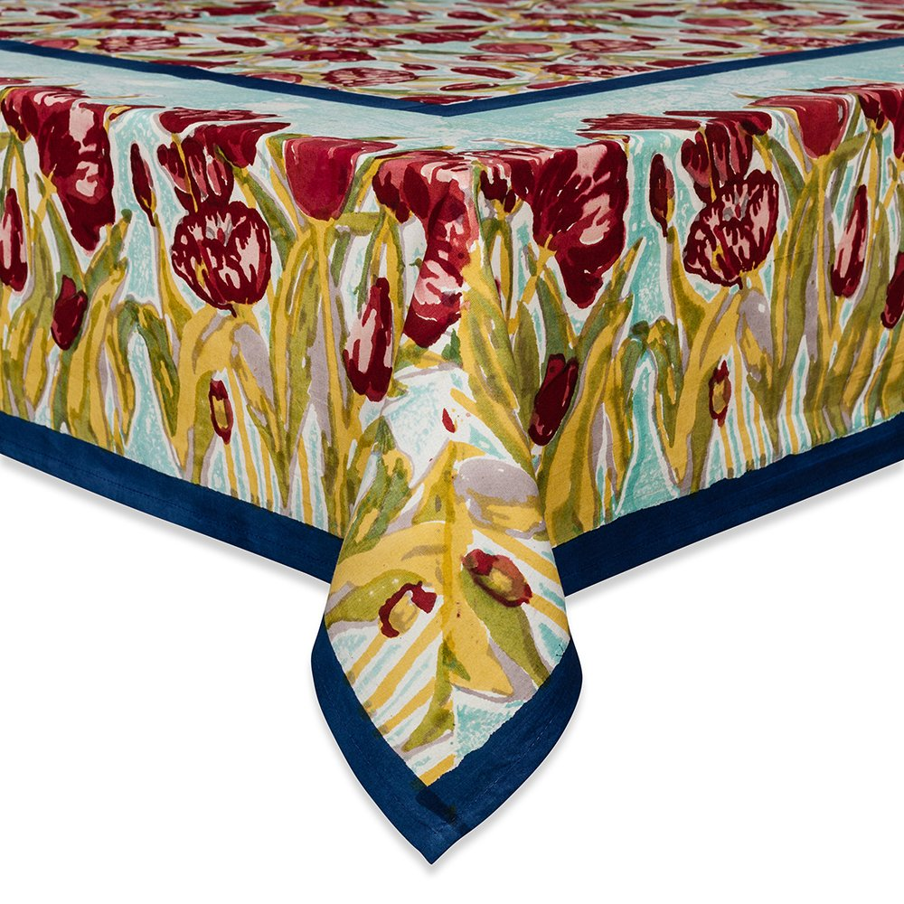 Couleur Nature 71-inches by 128-inches Tulips Tablecloth, Turquoise/Navy