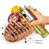 Glass Cooking Oil Sprayer Olive Oil Sprayer Pump Stainless Steel Oil Dispensers Bottle For Salad/Bread Baking/Barbecue With 2 Bonus Brushes