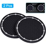 Bling Car Coasters, Wisdompro 2 Pack PVC Car Cup Holder Insert Coaster - Anti Slip Universal Vehicle Interior…