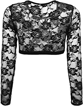 Womens Arm Shaper See Through Floral Mesh Lace Short Crop Top 3//4 Sleeves Blouse