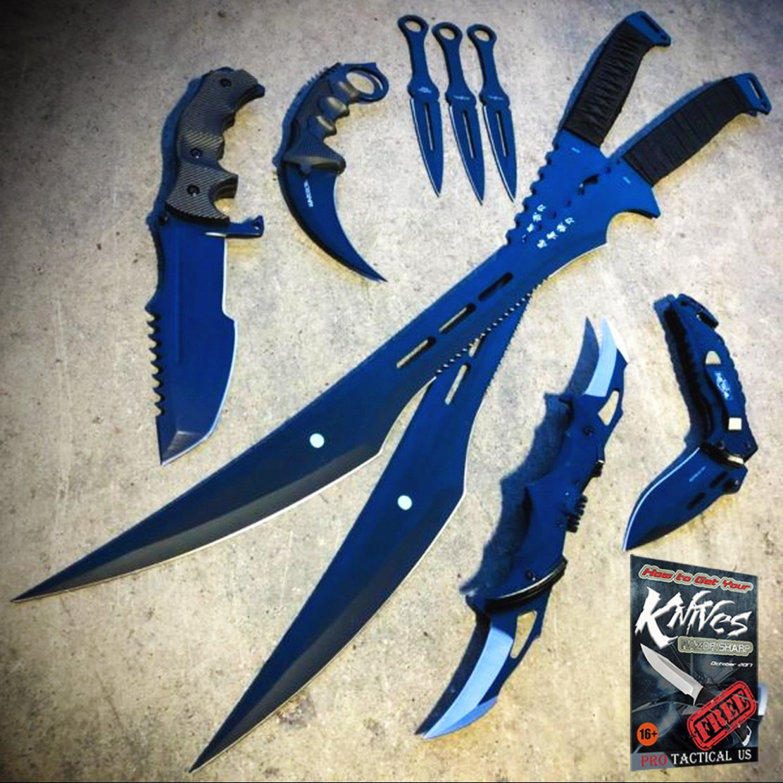 9 PC NInja Tactical Sword Machete Hunting Knife Fixed Blade ...